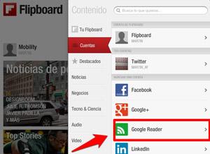Cómo importar tus feeds de Google Reader a Flipboard en dispositivos iOS, seleccionar-cuentas-googlereader
