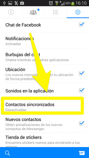 Sincronizar contactos de facebook en android