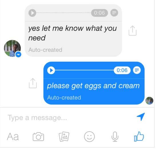 facebook messenger voz a texto