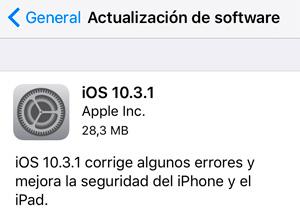 Apple lanza iOS 10.3.1, que corrige algunos errores y mejora la seguridad