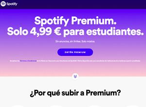 Spotify ofrece ya en España su servicio Premium para estudiantes por 4,99 euros