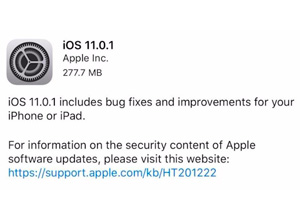 Apple lanza iOS 11.0.1