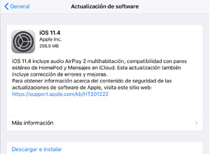 Apple lanza iOS 11.4, con audio AirPlay 2 multihabitación y compatibilidad con pares estéreo de HomePod