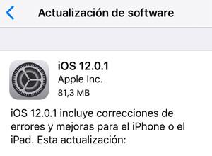 Apple corrige pequeños errores con iOS 12.0.1