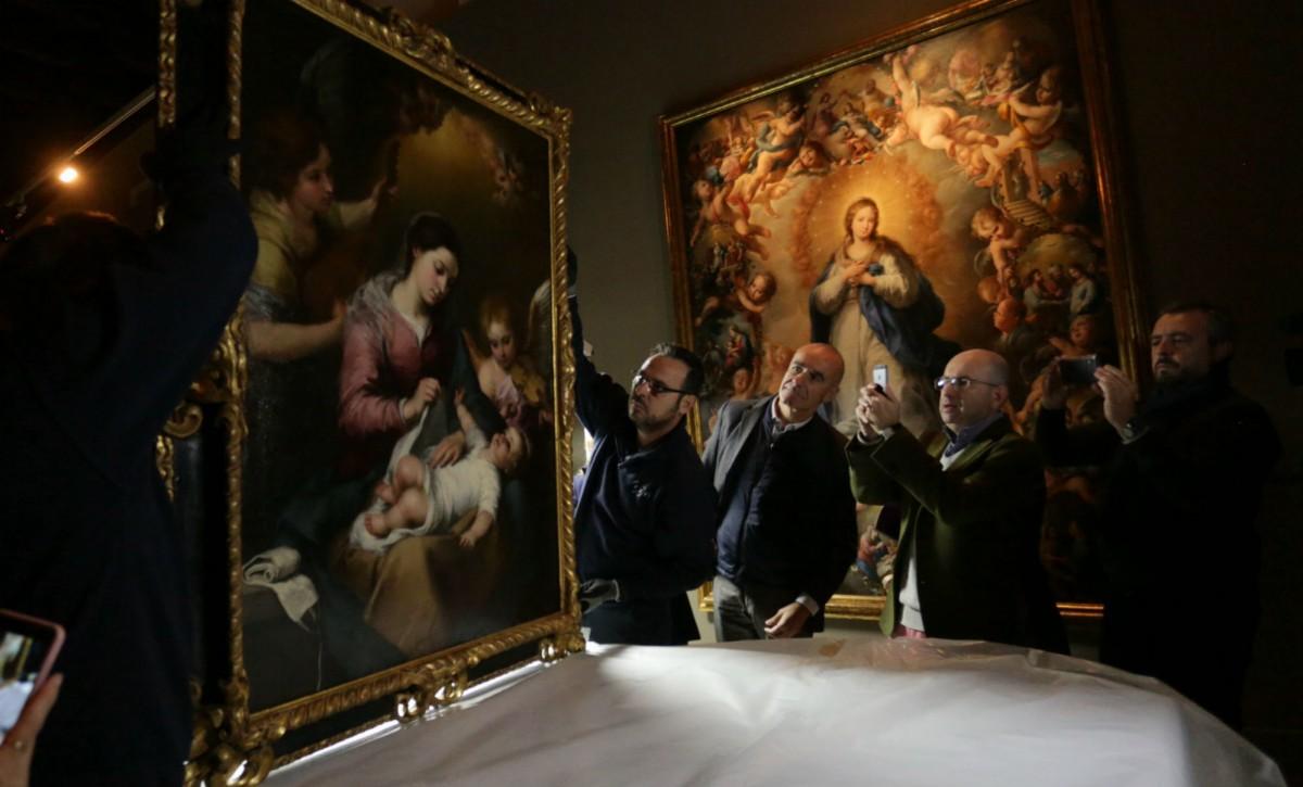 El cuadro «La Virgen de la faja» de Murillo llega a Santa Clara - VANESSA GÓMEZ / VÍDEO: JAVIER COMAS